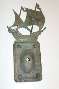 Antique Brass Ship Door Bell Ringer Buzzer Pitted Patina Original Antique