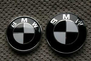Bmw E46 E39 E90 Sedan 82mm 74mm Front Hood Trunk Emblem Logo Badge Set Black