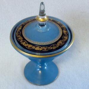 Antique Lancaster Blue Glass Covered Candy Dish Compote W Gold