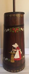 Vintage Holly Hobby Type Upright Wooden Barrel Butter Churn