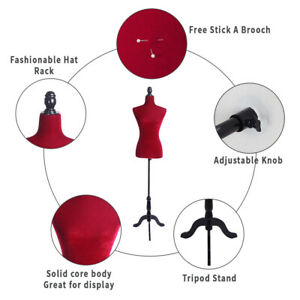 Half length Foam Brushed Fabric Coating Lady Model For Clothing Display Red