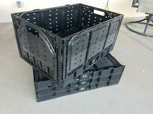 Lot Of 4 Collapsible Crates Ifco 28n Black Space Savers Fruit Tools Storage