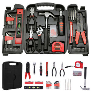 New 128pc Auto Repair Tool General Household Hand Tools Kit With Rip Claw Hammer