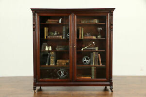 Mahogany Carved Antique Library Bookcase Wavy Glass Doors 32138