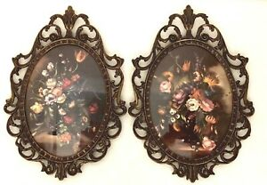 2 Vintage Victorian Style Metal Picture Frames Convex Glass Made In Italy Floral