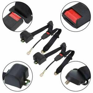Adjustable Black Retractable Car Seat Belt Lap Belt 3point Safety Universal Auto