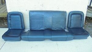 1965 Mustang Coupe Front Bucket Rear Seats Without Tracks Blue Complete Set