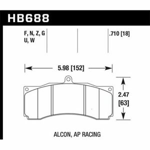 Hawk Hb688u 710 Dtc 70 Front Disc Brake Pad Set For Ap Racing For Alcon