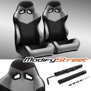 2 X Black Grey Pvc Leather Left Right Reclinable Racing Bucket Seats Slider