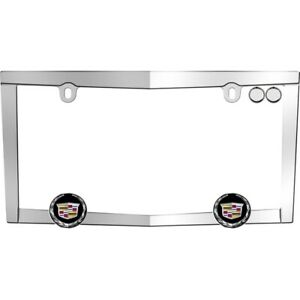 Cruiser Accessories Metal License Plate Frame Cadillac Logo Chrome 10330