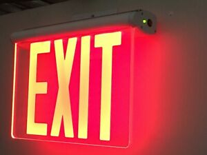 Red Led Emergency Exit Light Sign Edge Lit Battery Backup Ul924 Fire Code Nyc