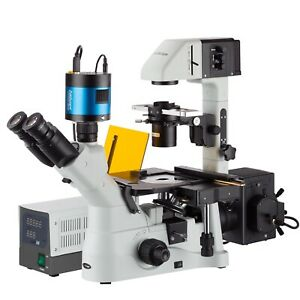Inverted Phase contrast Fluorescence Microscope 40x 1500x W 6mp Low light Camera