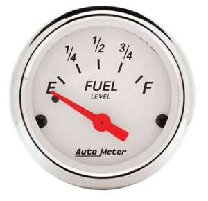 Auto Meter 1318 Gauge Fuel Level 2 1 16 0 E To 30 F Electric Arctic White