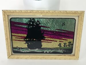 Antique 1935 Pirate Ship Reverse Painting On Glass Tinsel Foil Folk Art Picture