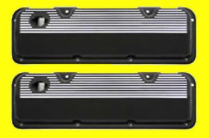 Ford 351c Cleveland Cast Black Finned Aluminum Valve Covers Aluminum Made Usa