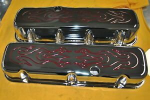 Bbc Big Block Chevy Tall Chrome Valve Covers Flamed