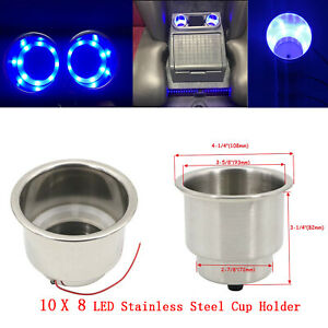10pcs 8 Led s Blue Stainless Steel Cup Drink Holder Marine Boat Car Truck Camper