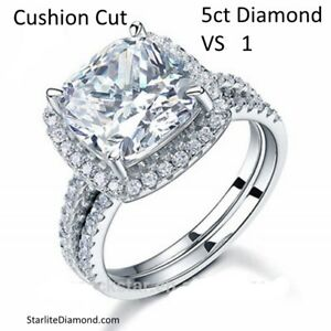 5 Carat Cushion Cut flawless VS 1 Engagement Ring   Black Friday Special