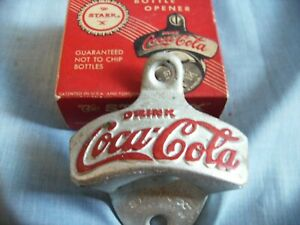 VINTAGE COCA COLA STARR X WALL MOUNT BOTTLE OPENER IN THE ORIGINAL BOX + SCREWS