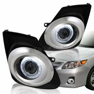 For 2011 2013 Toyota Corolla Halo Projector Bumper Driving Fog Lights Lamps