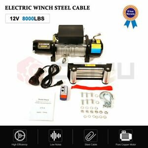 12v 8000lbs Electric Recovery Winch Towing Truck 8 1mmx27m Steel Rope Off Road