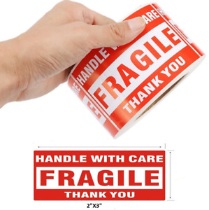 500pcs 2 x3 Fragile Handle With Care Thank You Mailing Labels Self Adhesive