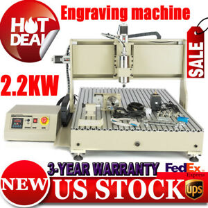 4axis Cnc Router Mill Drill 6090t Engraver Machine Metal Wood Cut Desktop 2 2 Kw
