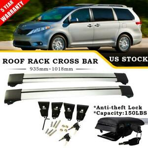 Pair Roof Rack Cross Bar Luggage Bike Carrier Rails Lock For Toyota Sienna 11 17