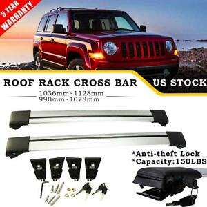 Pair Roof Rack Cross Bar Cargo Bike Carrier Rail Lock For 2007 2015 Jeep Patriot