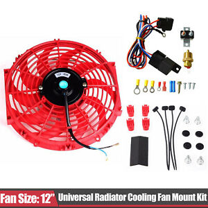 Univesal Red 12 Electric Cooling Fan Push in Radiator Fin Probe thermostat Kit