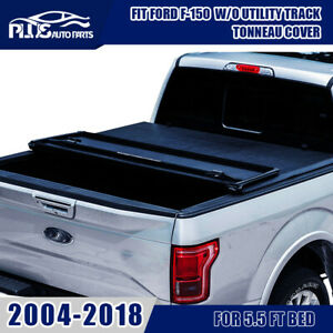 For 2004 2018 Ford F 150 W O Utility Track 5 5 Ft Bed Tri Fold Tonneau Cover