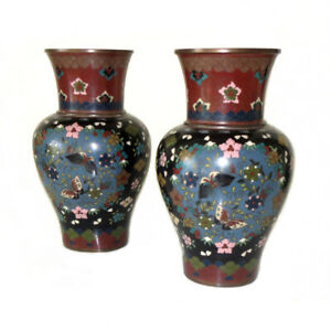 Fine Pair Of Antique Japanese Meiji Period Cloisonne Vases 7 H