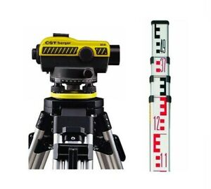Cst Berger 55 slvp20nd 20x Auto Level W 4 meter Metric Rod Tripod Package