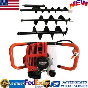 2 stroke 52cc 2 3hp Gas Powered Engine Post Hole Digger Earth Auger With 3 Bits