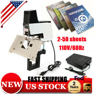 106 Electric Auto Stapler Book Bindiing Flat Saddle Binder Machine 2 50 Sheets