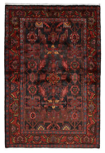 Vintage Persian Hamadan Rug 5 X 7 Blue Red Hand Knotted Wool Pile