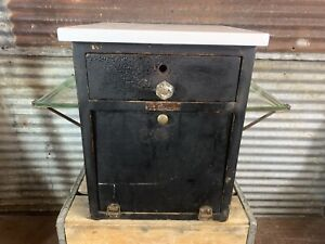 Antique Vtg 1900s Barber Shop Sterilizer Cabinet W Marble Top Medical Display
