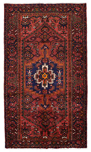 Vintage Persian Hamadan Rug 4 X 8 Red Blue Hand Knotted Wool Pile