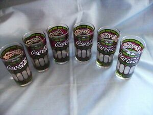 SET OF SIX VINTAGE DRINK COCA COLA TIFFANY STYLE GLASSES