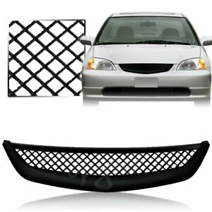 For 2001 2003 Honda Civic Type R Style Black Mesh Abs Front Hood Grille Grill
