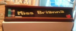 Personalized Business Desk Name Plate With Pen Card Holder Mahogany