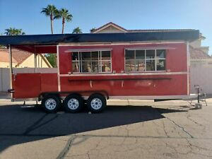Never Used 2019 7 X 27 Barbecue Food Concession Trailer With Porch Bbq Rig For