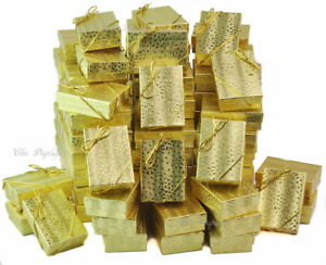 100pc Gift Box Gold Jewelry Gift Boxes Cotton Filled Gold Gift Boxes free Bows