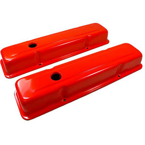 Small Block Chevy Short Gm Orange Steel Valve Covers 1958 86 283 305 327 350