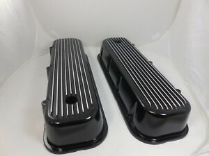 1965 95 Chevy Big Block Chevy Black Tall Valve Covers Polished Finned Black
