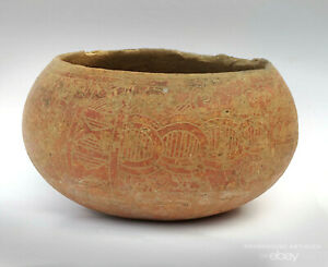 Pre Columbian Marajoara Culture Pottery Bowl Mayan Period Carved 500 900 Ce