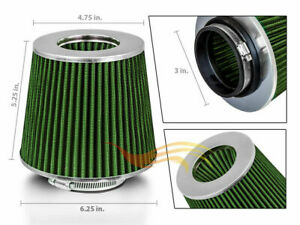 Green 3 76mm Inlet Cold Air Intake Cone Replacement Quality Dry Air Filter
