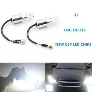 Super Bright H3 Csp Led Fog Light Bulbs Conversion Kit 55w 6000lm 6000k White
