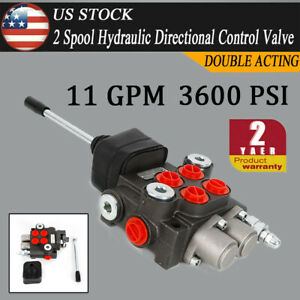 2 Spool 11gpm Hydraulic Directional Adjustable Valve Double Acting Cylinder New
