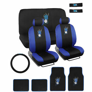 Blue Hawaiian Flower Design Seat Cover Set With Floor Mats For Car Truck Suv